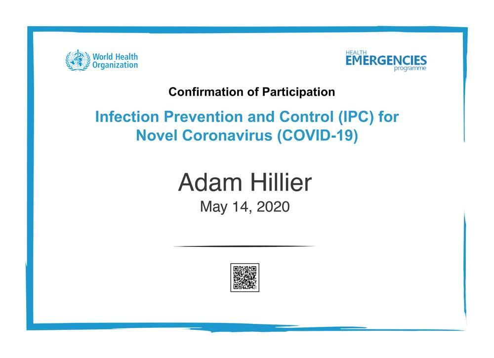 Adam Hillier Certificate